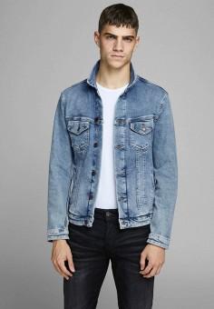 Куртка джинсовая, Jack & Jones, цвет: голубой. Артикул: JA391EMJQKO2. Одежда / Верхняя одежда / Джинсовые куртки