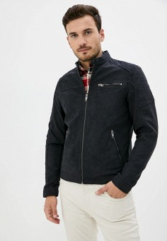 Куртка кожаная, Jack & Jones, цвет: черный. Артикул: JA391EMKEEC8. Одежда / Верхняя одежда / Кожаные куртки