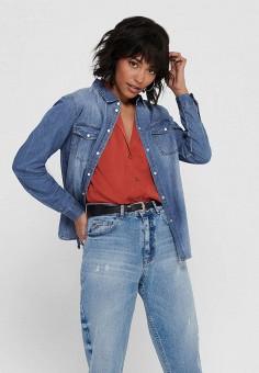 Рубашка джинсовая, Jacqueline de Yong, цвет: синий. Артикул: JA908EWHISJ5. Одежда / Блузы и рубашки / Рубашки