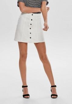 Юбка джинсовая, Jacqueline de Yong, цвет: белый. Артикул: JA908EWHITF3. Одежда