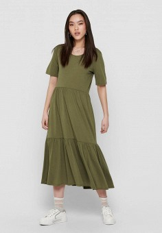 Платье, Jacqueline de Yong, цвет: хаки. Артикул: JA908EWHITJ5. Одежда / Платья и сарафаны / Повседневные платья