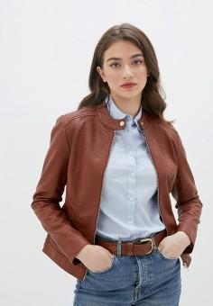 Куртка кожаная, Jacqueline de Yong, цвет: коричневый. Артикул: JA908EWJOZP2. Одежда / Верхняя одежда / Кожаные куртки