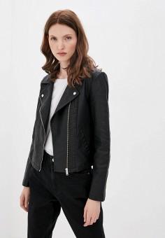 Куртка кожаная, Jacqueline de Yong, цвет: черный. Артикул: JA908EWJOZP3. Одежда / Верхняя одежда / Кожаные куртки