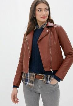Куртка кожаная, Jacqueline de Yong, цвет: коричневый. Артикул: JA908EWJOZP4. Одежда / Верхняя одежда / Кожаные куртки