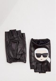 Митенки, Karl Lagerfeld, цвет: черный. Артикул: KA025DWJSKH6. Аксессуары / Перчатки и варежки