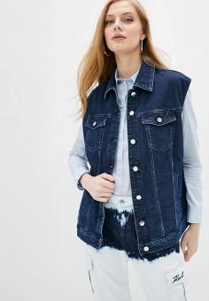 Жилет джинсовый, Karl Lagerfeld Denim, цвет: синий. Артикул: KA047EWHQVI7. Одежда / Верхняя одежда / Жилеты
