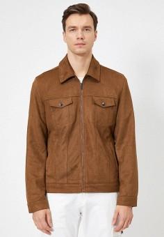 Куртка кожаная, Koton, цвет: коричневый. Артикул: KO008EMIHQP8. Одежда / Верхняя одежда / Кожаные куртки