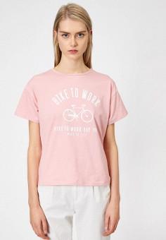 Футболка, Koton, цвет: розовый. Артикул: KO008EWIPKU0. Одежда / Футболки и поло