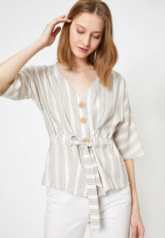 Блуза, Koton, цвет: бежевый. Артикул: KO008EWJFCW3. Одежда / Блузы и рубашки