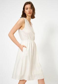 Платье, Koton, цвет: белый. Артикул: KO008EWJFCY6. Одежда / Платья и сарафаны / Повседневные платья