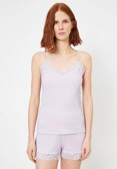 Майка, Koton, цвет: фиолетовый. Артикул: KO008EWJUGN4. Одежда / Топы и майки