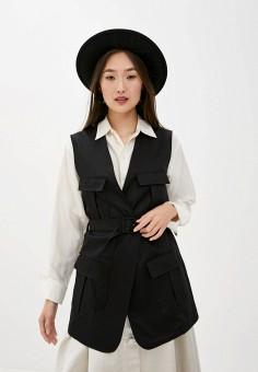 Жилет, L'Autre Chose, цвет: черный. Артикул: LA932EWHZRE5. Одежда / Пиджаки и костюмы
