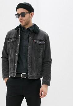 Куртка джинсовая, Levi's?, цвет: черный. Артикул: LE306EMHMRT0. Одежда / Верхняя одежда / Джинсовые куртки