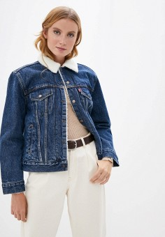 Куртка джинсовая, Levi's?, цвет: синий. Артикул: LE306EWJLHV9. Одежда / Верхняя одежда