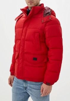 Куртка утепленная, Lee, цвет: красный. Артикул: LE807EMFROU8. Одежда / Верхняя одежда / Пуховики и зимние куртки