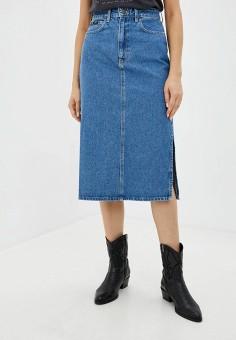 Юбка джинсовая, Lee, цвет: голубой. Артикул: LE807EWKDKC8. Одежда / Юбки