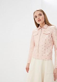 Куртка кожаная, Liu Jo, цвет: розовый. Артикул: LI687EWDMTO8. Одежда / Верхняя одежда / Кожаные куртки