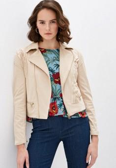 Куртка кожаная, Liu Jo, цвет: бежевый. Артикул: LI687EWHRHC7.