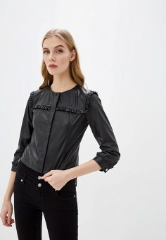 Куртка кожаная, Liu Jo, цвет: черный. Артикул: LI687EWHRHE1. Одежда / Верхняя одежда / Кожаные куртки