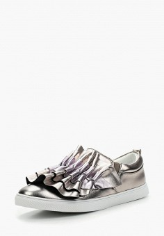 Слипоны, Lost Ink, цвет: серебряный. Артикул: LO019AWWIM54. Обувь / Слипоны