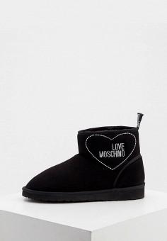 Полусапоги, Love Moschino, цвет: черный. Артикул: LO416AWJYLR1. Обувь / Сапоги / Угги и унты