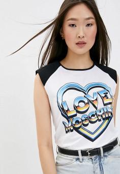 Майка, Love Moschino, цвет: белый. Артикул: LO416EWHRDD0.