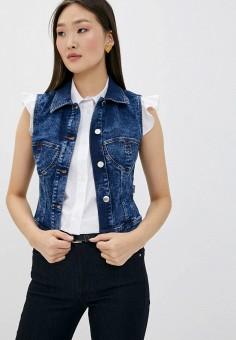 Жилет джинсовый, Love Moschino, цвет: синий. Артикул: LO416EWHRDL0. Одежда / Верхняя одежда / Жилеты
