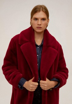 Шуба, Mango, цвет: бордовый. Артикул: MA002EWIEFV2. Одежда / Верхняя одежда / Шубы и дубленки