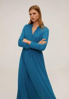 Платье, Mango, цвет: синий. Артикул: MA002EWIIPB6. Одежда / Платья и сарафаны / Повседневные платья