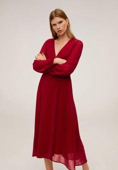 Платье, Mango, цвет: бордовый. Артикул: MA002EWIIPD1. Одежда / Платья и сарафаны