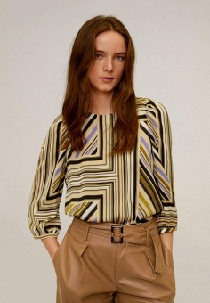 Блуза, Mango, цвет: бежевый. Артикул: MA002EWIIQZ7. Одежда / Блузы и рубашки