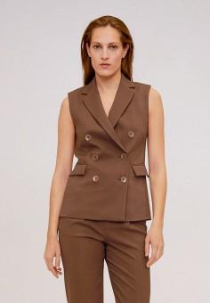 Жилет, Mango, цвет: коричневый. Артикул: MA002EWIRKR8. Одежда / Пиджаки и костюмы