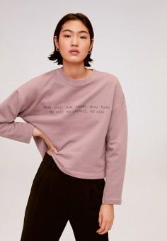Свитшот, Mango, цвет: розовый. Артикул: MA002EWIRLX9. Одежда / Толстовки и свитшоты