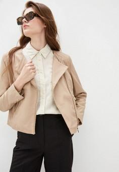 Куртка кожаная, Mango, цвет: бежевый. Артикул: MA002EWIVDI1. Одежда / Верхняя одежда / Кожаные куртки