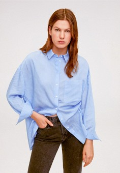 Рубашка, Mango, цвет: голубой. Артикул: MA002EWIWQD4. Одежда / Блузы и рубашки / Рубашки