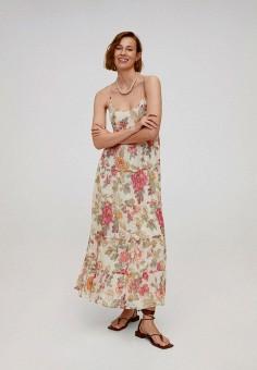 Платье, Mango, цвет: бежевый. Артикул: MA002EWJDVX6. Одежда / Платья и сарафаны