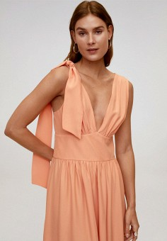Платье, Mango, цвет: оранжевый. Артикул: MA002EWJDWA3. Одежда / Платья и сарафаны / Вечерние платья
