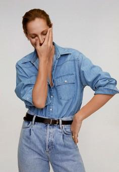 Рубашка джинсовая, Mango, цвет: голубой. Артикул: MA002EWJDWD9. Одежда / Блузы и рубашки / Рубашки
