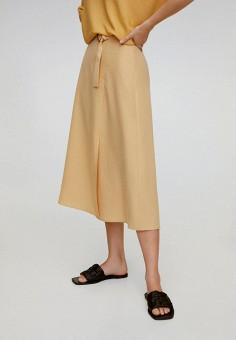 Юбка, Mango, цвет: желтый. Артикул: MA002EWJGDU5. Одежда / Юбки