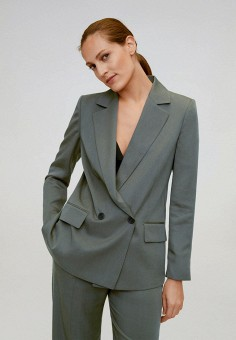 Пиджак, Mango, цвет: серый. Артикул: MA002EWJGER3. Одежда / Пиджаки и костюмы