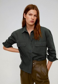 Рубашка, Mango, цвет: хаки. Артикул: MA002EWJGES1. Одежда / Блузы и рубашки / Рубашки