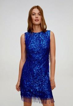 Платье, Mango, цвет: синий. Артикул: MA002EWJGEU5. Одежда / Платья и сарафаны / Вечерние платья