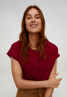 Блуза, Mango, цвет: бордовый. Артикул: MA002EWJGEY5. Одежда / Блузы и рубашки