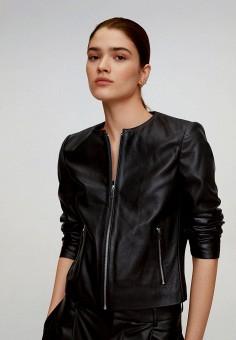 Куртка кожаная, Mango, цвет: черный. Артикул: MA002EWJGFF5. Одежда / Верхняя одежда / Кожаные куртки