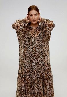 Платье, Mango, цвет: коричневый. Артикул: MA002EWJGFK4.