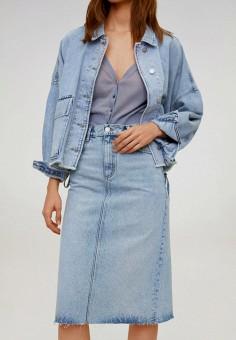 Юбка джинсовая, Mango, цвет: голубой. Артикул: MA002EWJIYZ6. Одежда / Юбки