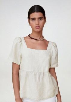 Блуза, Mango, цвет: бежевый. Артикул: MA002EWJKHL5. Одежда / Блузы и рубашки