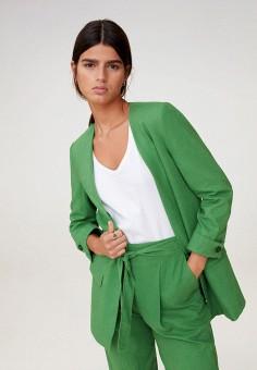 Жакет, Mango, цвет: зеленый. Артикул: MA002EWJKSY4. Одежда / Пиджаки и костюмы