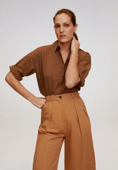 Рубашка, Mango, цвет: коричневый. Артикул: MA002EWJRRU2. Одежда / Блузы и рубашки / Рубашки