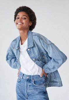 Куртка джинсовая, Mango, цвет: синий. Артикул: MA002EWJWNP3. Одежда / Верхняя одежда